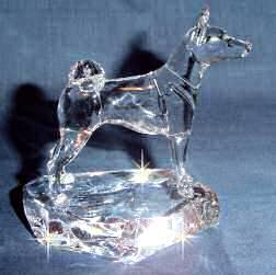Crystal Sculpture of Basenji Hand-Sculpted by Neil Harris - Side View