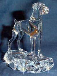 Boxer with Natural Ears Handsculpted Crystal 3/4 View