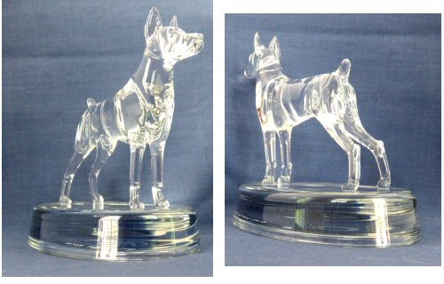 Hand-Sculpted Crystal Statue of Doberman Pinscher 3/4 View