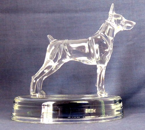 Hand-Sculpted Crystal Statue of Doberman Pinscher Side View