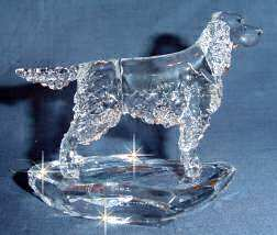 Crystal Sculpture of Gordon Setter  Side View