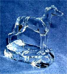 Hand-Sculpted Crystal Greyhound 3/4 View