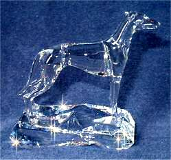 Hand-Sculpted Crystal Greyhound Side View