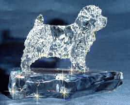 Hand-Sculpted Crystal Statue of Norfolk Terrier Side View