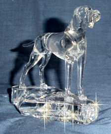 Hand-Sculpted Crystal Statue of Pointer Standing 3/4 View