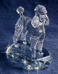Hand-Sculpted Crystal Statue of the Poodle 3/4 View