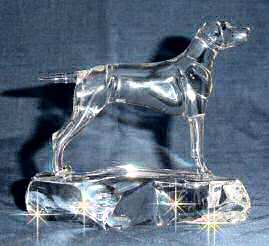 Hand-Sculpted Crystal Statue of Vizsla Side View